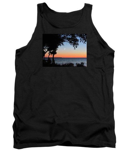 Moon Sliver At Sunset Tank Top by David T Wilkinson