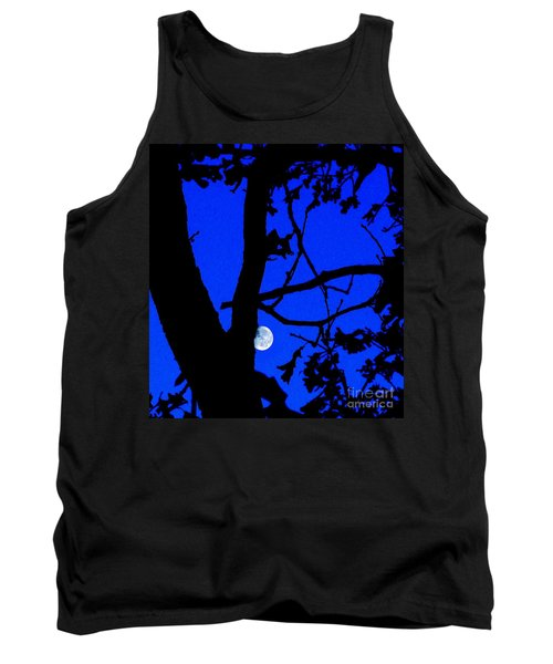 Tank Top featuring the photograph Moon Through Trees 2 by Janette Boyd