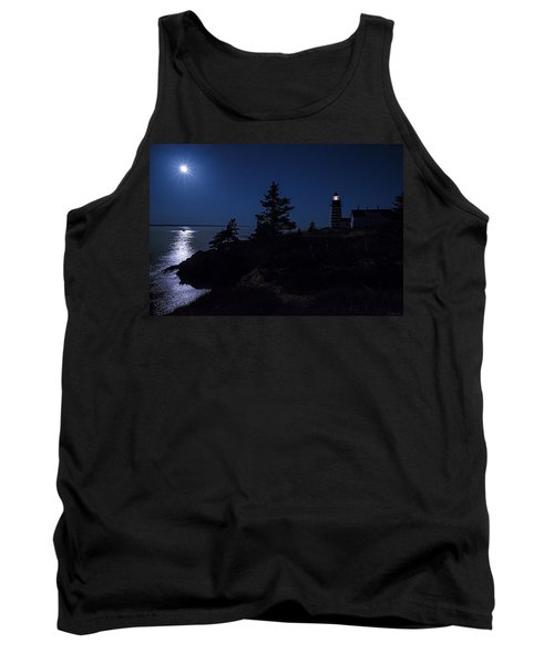Tank Top featuring the photograph Moonlit Panorama West Quoddy Head Lighthouse by Marty Saccone
