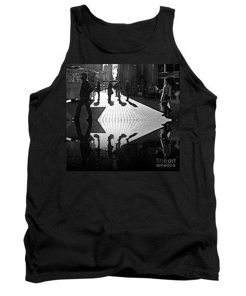 Tank Top featuring the photograph Morning Coffee Line On The Streets Of New York City by Lilliana Mendez