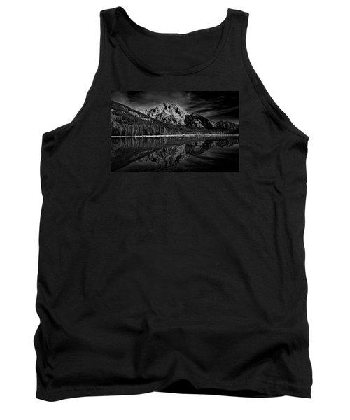Mount Moran In Black And White Tank Top by Raymond Salani III