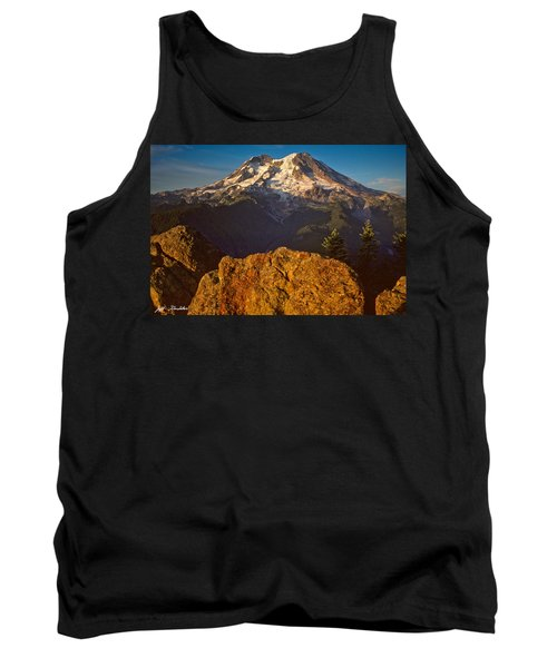 Tank Top featuring the photograph Mount Rainier At Sunset With Big Boulders In Foreground by Jeff Goulden