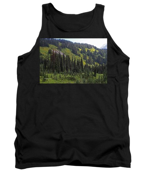 Tank Top featuring the photograph Mount Rainier Ridges And Fir Trees.. by Tom Janca