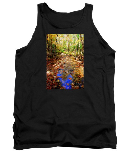 Mountain Stream Covered With Fall Leaves Tank Top