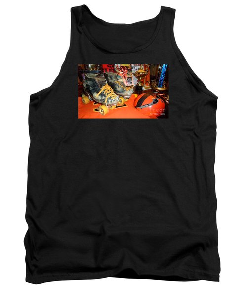 My Battle Scarred Roller Derby Skates And Helmet   Tank Top by Jim Fitzpatrick