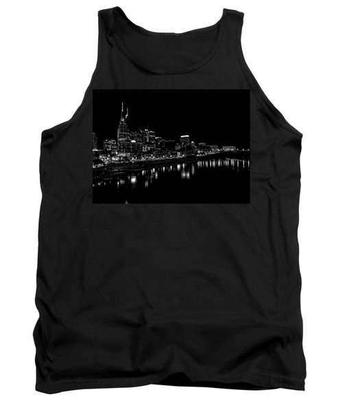 Nashville Skyline At Night In Black And White Tank Top