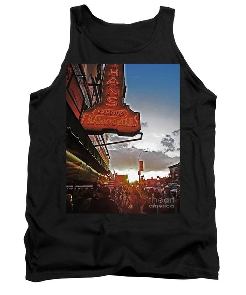 Tank Top featuring the photograph Nathan's Famous Coney Island Sunset Frankfurters by Andy Prendy
