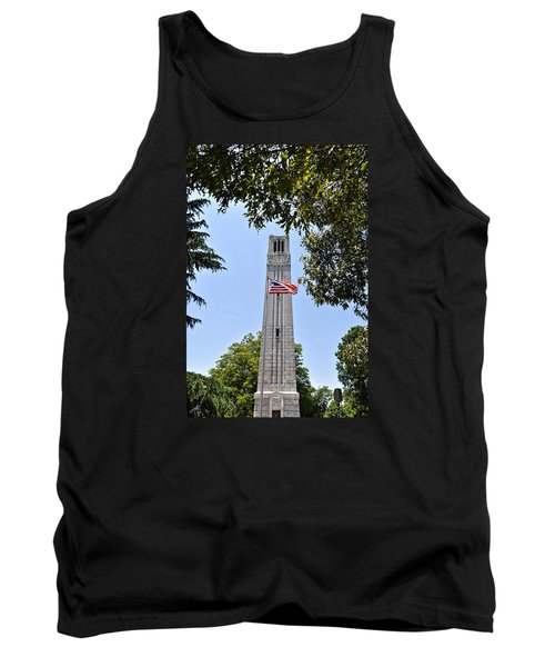 Nc State Memorial Bell Tower And Us Flag Tank Top