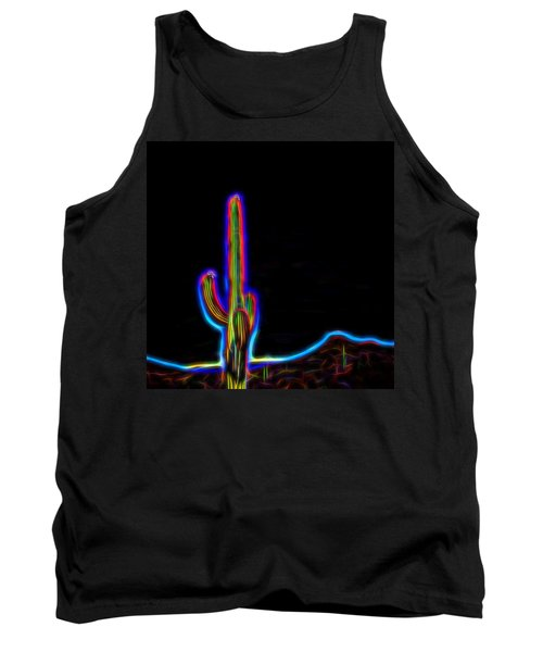Tank Top featuring the photograph Neon Cactus In Bloom by Marianne Campolongo
