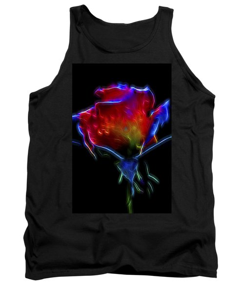Tank Top featuring the digital art Neon Rose by William Horden