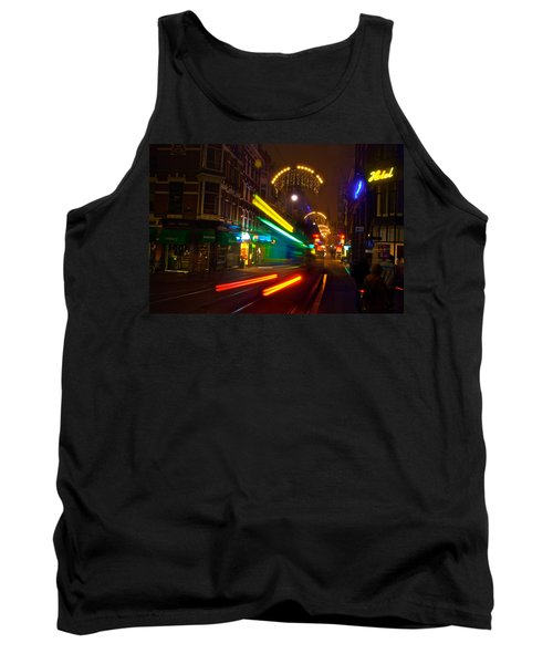 Tank Top featuring the photograph Neon Tram Leidestraat by Jonah  Anderson