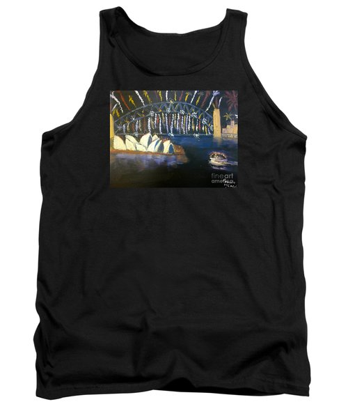 Tank Top featuring the painting New Year Eve On Sydney Harbour by Pamela  Meredith