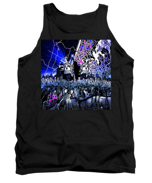 New York Map Abstract 4 Tank Top