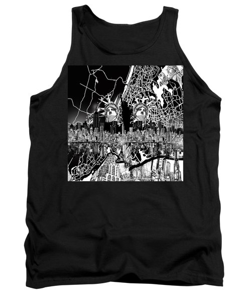 New York Map Black And White 2 Tank Top