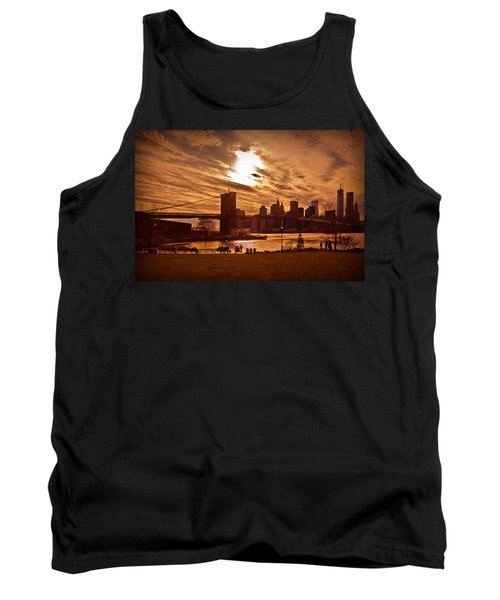 New York Skyline And Brooklyn Bridge -- Late Afternoon Tank Top