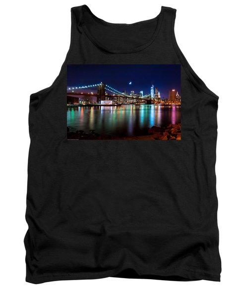 Tank Top featuring the photograph New York Skyline And Brooklyn Bridge With Crescent Moon Rising by Mitchell R Grosky