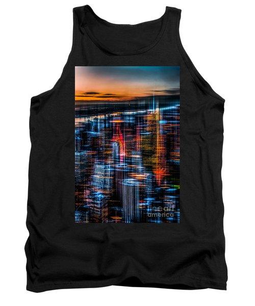 New York- The Night Awakes - Orange Tank Top