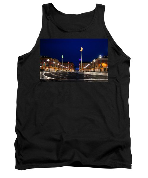 Tank Top featuring the photograph Nice France - Place Massena Blue Hour  by Georgia Mizuleva