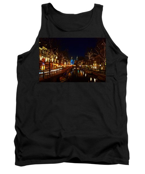 Tank Top featuring the photograph Nieuwe Spieglestraat At Night by Jonah  Anderson