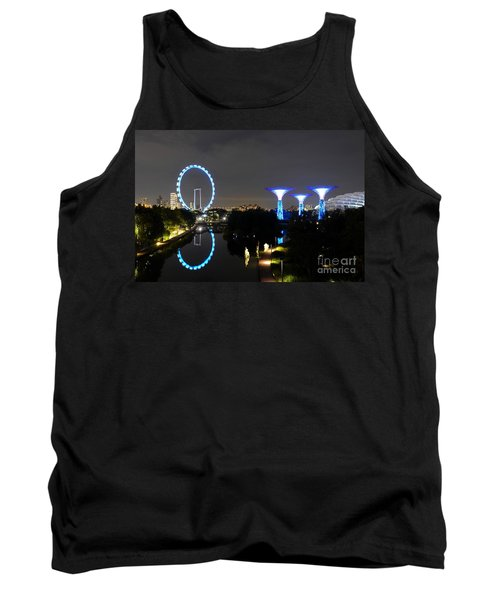 Night Shot Of Singapore Flyer Gardens By The Bay And Water Reflections Tank Top by Imran Ahmed