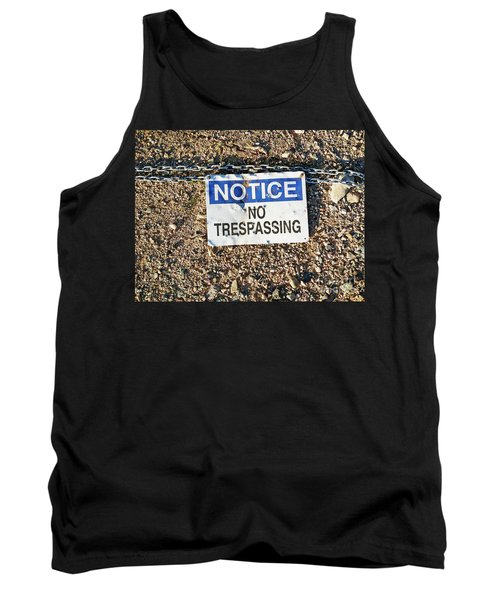 No Trespassing Sign On Ground Tank Top