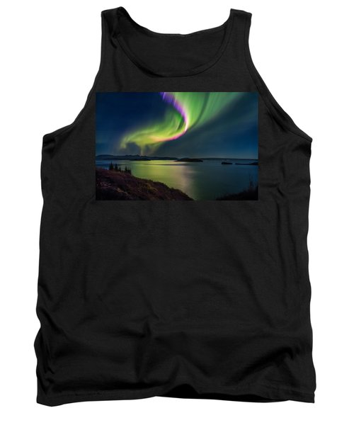 Northern Lights Over Thingvallavatn Or Tank Top