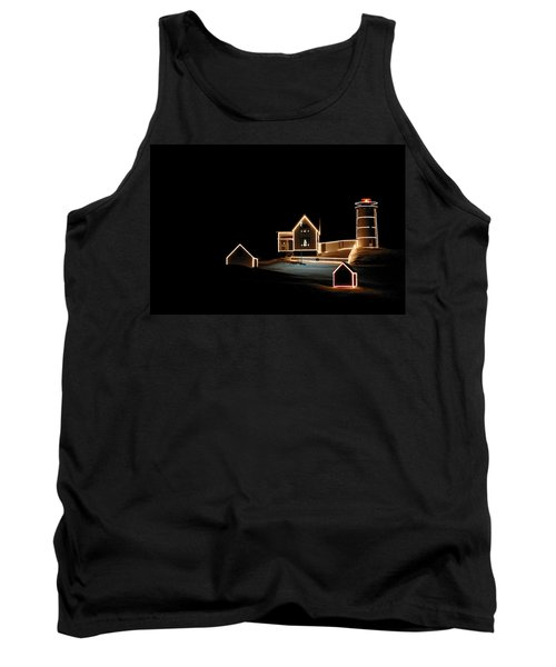 Nubble Lighthouse Christmas Lights Tank Top by Denyse Duhaime