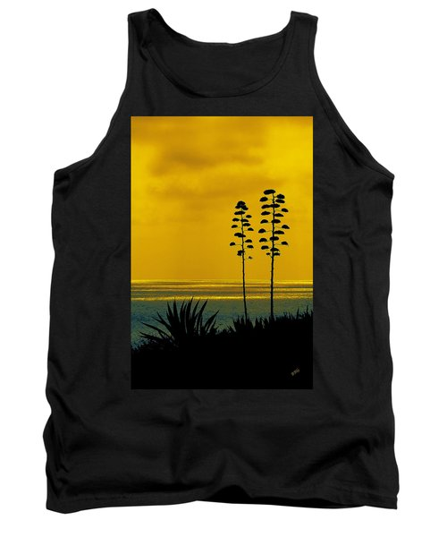 Ocean Sunset With Agave Silhouette Tank Top