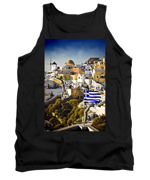 Tank Top featuring the photograph Oia And A Greek Flag by Meirion Matthias