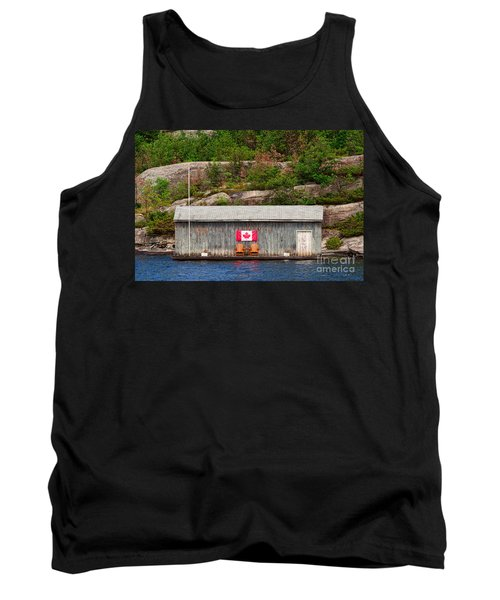 Old Boathouse With Two Muskoka Chairs Tank Top by Les Palenik