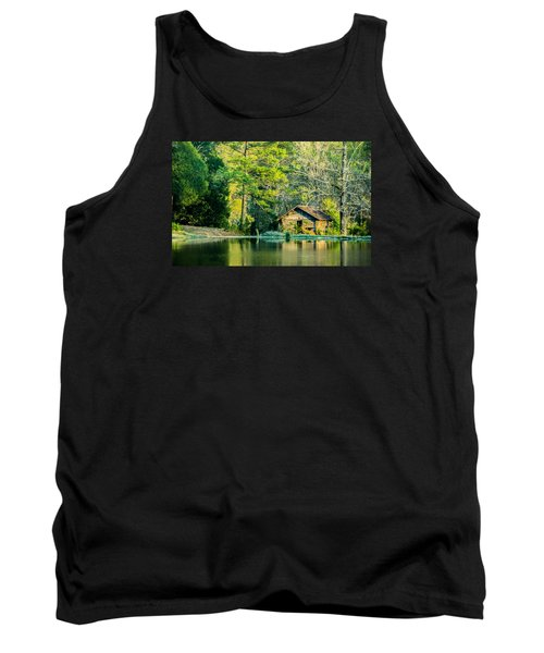 Old Cabin By The Pond Tank Top by Parker Cunningham