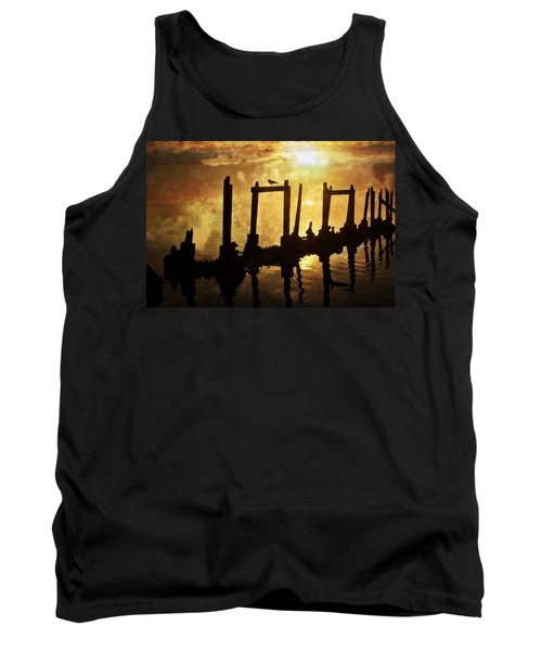 Tank Top featuring the photograph Old Pier At Sunset by Marty Koch