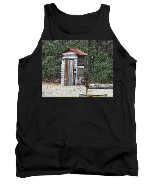 Old Time Outhouse And Pitcher Pump Tank Top