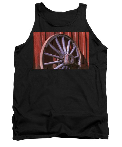 Old Wagon Wheel Leaning Against Barn Tank Top