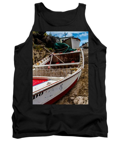 Old Wooden Fishing Boat On Dock  Tank Top