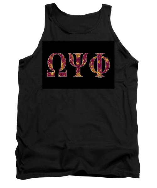 Tank Top featuring the digital art Omega Psi Phi - Black by Stephen Younts