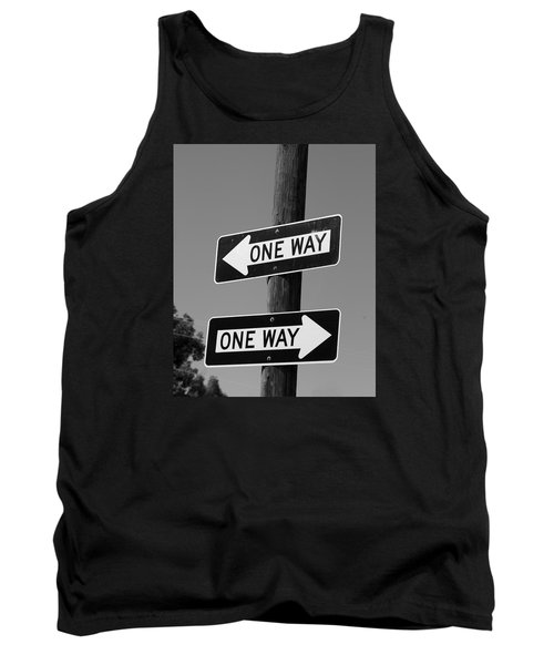 Tank Top featuring the photograph One Way Or Another - Confusing Road Signs by Jane Eleanor Nicholas