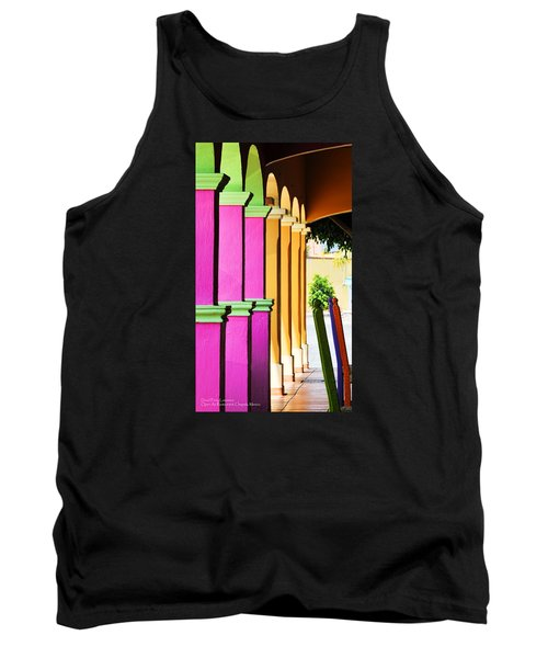 Tank Top featuring the photograph Open Air Restaurant - Mexico - Travel Photography By David Perry Lawrence by David Perry Lawrence