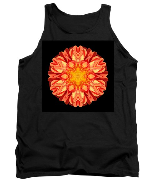 Orange Dahlia Flower Mandala Tank Top