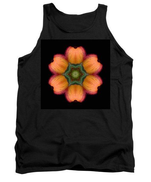 Orange Daylily Flower Mandala Tank Top