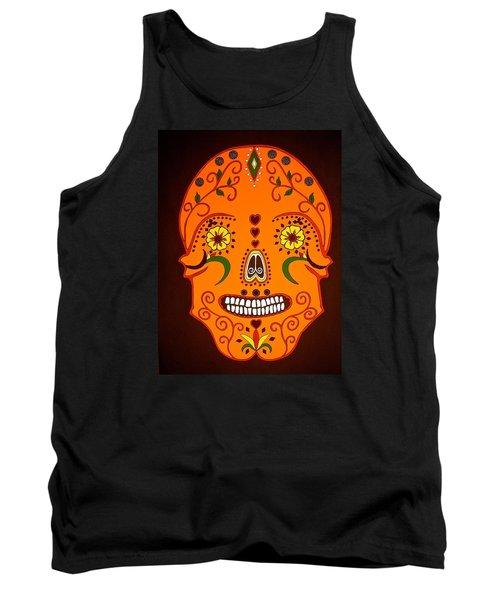 Orange Sugar Skull Tank Top