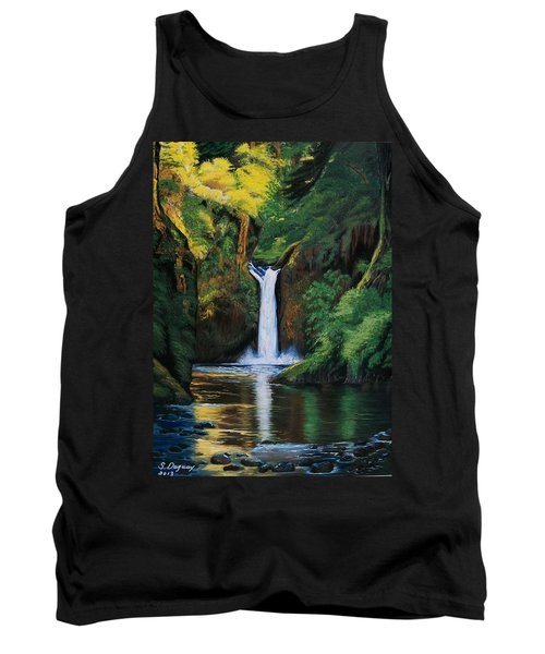 Tank Top featuring the painting Oregon's Punchbowl Waterfalls by Sharon Duguay