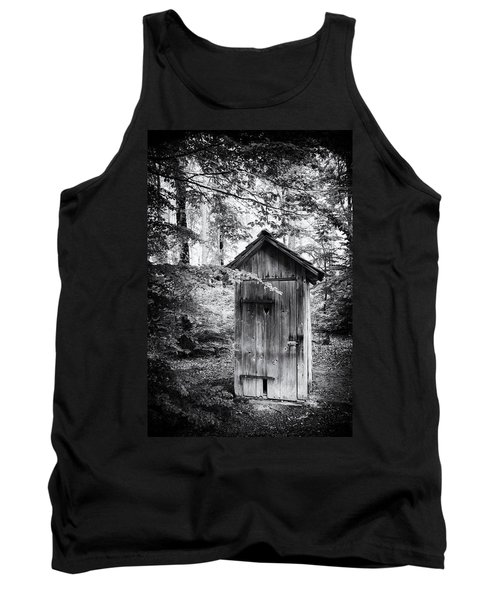 Outhouse In The Forest Black And White Tank Top