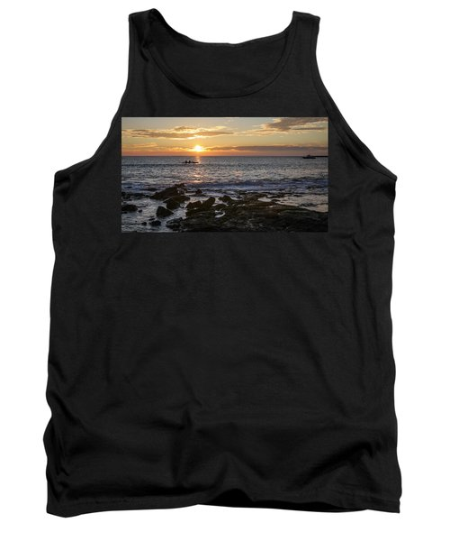 Paddlers At Sunset Horizontal Tank Top by Denise Bird