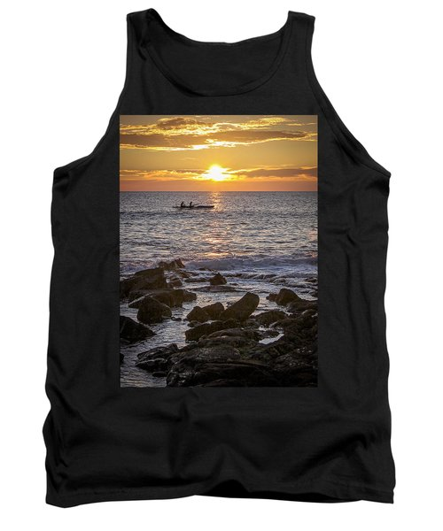 Paddlers At Sunset Portrait Tank Top by Denise Bird