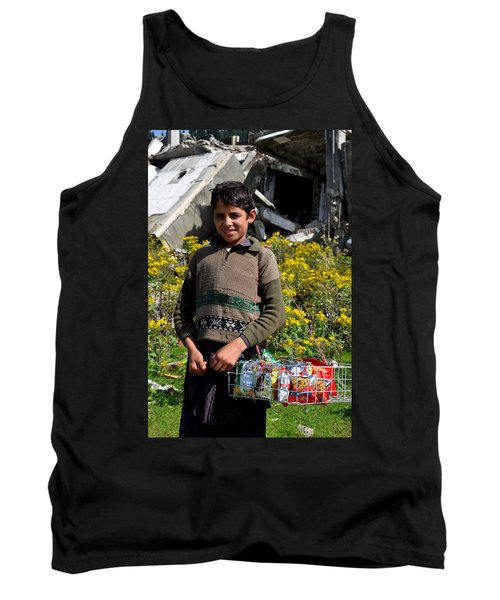 Tank Top featuring the photograph Pakistani Boy In Front Of Hotel Ruins In Swat Valley by Imran Ahmed