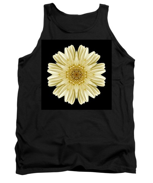 Pale Yellow Gerbera Daisy IIi Flower Mandala Tank Top