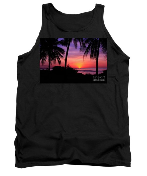 Palm Tree Sunset In Paradise Tank Top by Scott Cameron