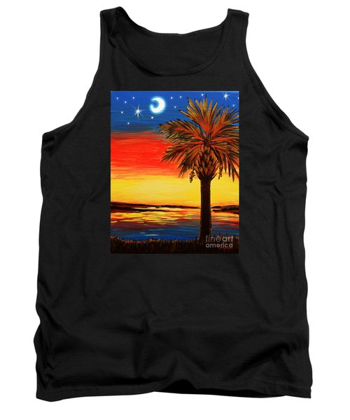 Palmetto Moon And Stars Tank Top by Patricia L Davidson