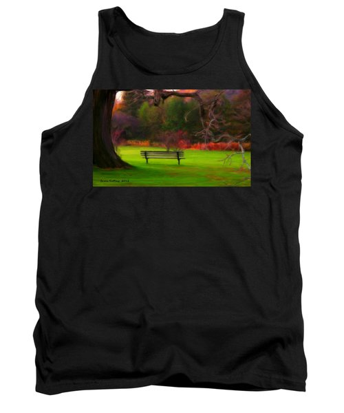 Tank Top featuring the painting Park Bench by Bruce Nutting
